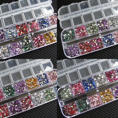 3000 Pcs Rhinestones Nail Art Case Assorted Designs for Acrylic Tips UV Gel Deco
