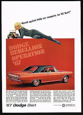 1967 Red Dodge Dart GT Car Photo Vintage Color Print Ad
