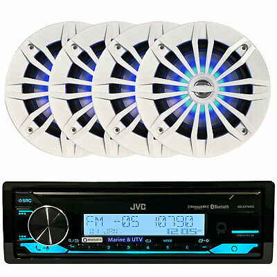 """New Clarion M205 Marine AM FM Radio Stereo + 4x 5-1/4"""" White Speakers Package"""