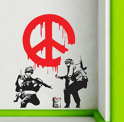 Banksy Wall Stickers Cnd Peace Sign Soldiers Art Decals Ba24