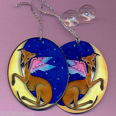 Original 2 X Greyhound  Dog On Moon Car Guardian Angels  Sign By Suzanne Le Good