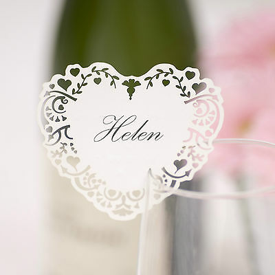 10 laser cut heart name place cards for glass wedding Vintage Romance range