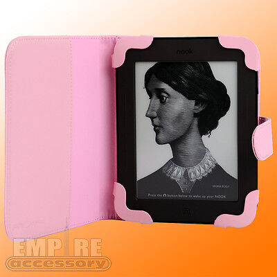 Pink Leather Case Cover for Barnes & Noble Nook Simple Touch eReader 3G Wifi