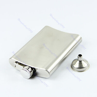 Stainless Steel 8oz Liquor Alcohol Party Drink Hip Flask + Funnel