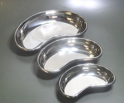 "Set of 3 Surgical / Vet Stainless  Steel Kidney Dishs 6"",8"" & 10"" * New CE *"