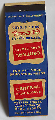 Central Drug Stores Greater Pittsburgh Airport PA Matchcover 051313