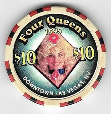 Four Queens Hotel $10.00 Showgirl Diamond Casino Chip Las Vegas Nevada