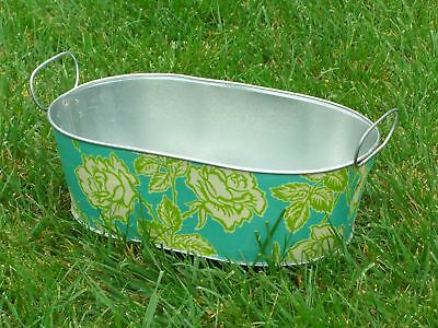 Turquoise Lime Green Wallpaper Rose Galvanized Oblong Oval Decoupaged Tin Tub