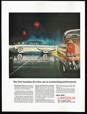 1955 Lincoln Car Photo First Function Outstanding Performance Vintage Print Ad
