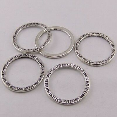 60X Vintage Style Antique Silver Tone Ring Pendant Findings Charms 20*20mm