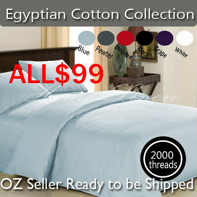 King/Queen/Double Bed 2000TC Extreme Soft Egyptian Cotton Collection Sheet Set