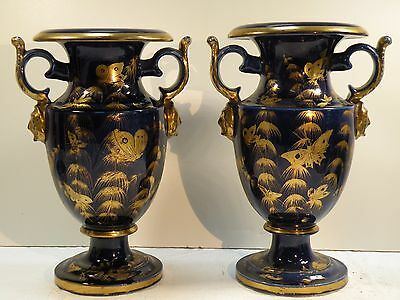 BBx:  PR ANTIQUE PASTE PORCELAIN BLUE & GOLD PAINTED URNS vases - butterflies
