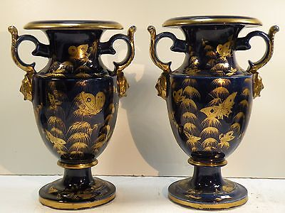 shlf PAIR ANTIQUE  HEAVY PORCELAIN BLUE & GILDED URNS vases, FRENCH STYLE