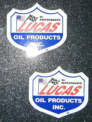 2 X Lucas Oil Products Vinyl Stickers Decals Car Racing Rally Toolbox Vintage