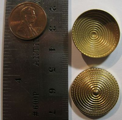 VINTAGE BRASS - 23mm Fancy Round Convex Cap 6mm High Stamping Hollowback - 6pcs