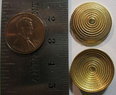 VINTAGE BRASS - 19mm Fancy Round Convex Cap 5mm High Stamping Hollowback - 6pcs