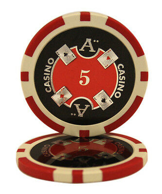 100pcs Ace Casino Laser Clay Poker Chips $5