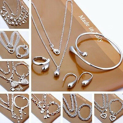 Wholesale Solid 925Silver Set bracelet/necklace/ring/earring Choose Style