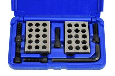 """Shars Matched Pairs Ultra Precision 1-2-3 123 Block Set 23 Holes 0.0001"""" New P"""