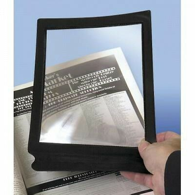 Large Flat Magnifying Sheet Fresnel Lens Magnifier Reading Glass. Black Frame