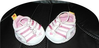 Build A Bear BABW doll Cute Pink skechers tennis shoes 1 pr elastic lace hearts
