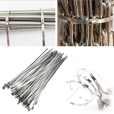 100Pcs 4.6x300mm Stainless Steel Exhaust Wrap Coated Locking Cable Zip Ties XDHK