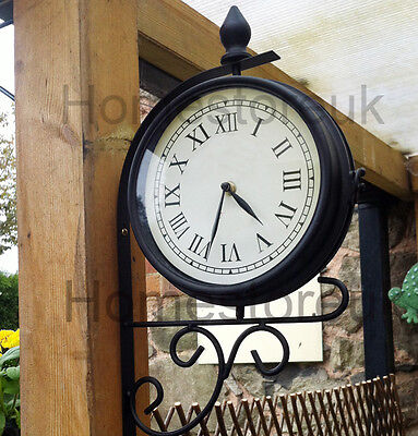 Double Sided Dual Clock Station Garden Outdoor Wall Mounted With Bracket 1141