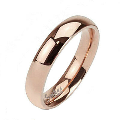 Solid Ti Titanium Rose Gold 4mm Plain Band Ring Size 4.5-8