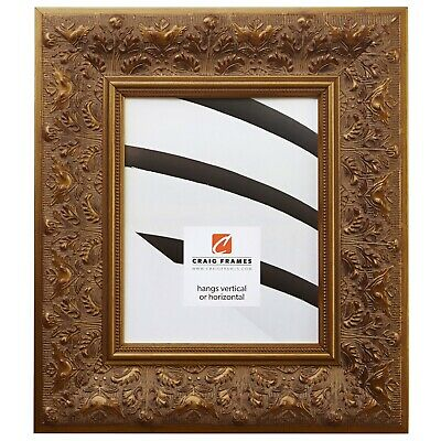 "Craig Frames 3.5"" Wide Aged Ornate Gold Wood Picture Frames & Poster Frames"