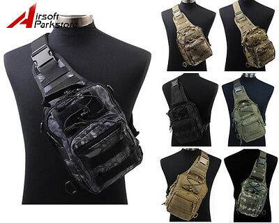 1000D Molle Tactical Utility 3 Ways Shoulder Bag Pouch Backpack 4 Colors BK/Tan