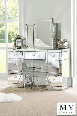 Large TOUGHENED Mirrored furniture Dressing Console table/ desk -Valeria