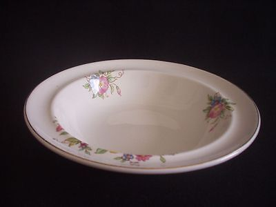 BURLEIGH -RIMMED CEREAL/DESSERT BOWL -FLORAL PATTERN WITH GLIDING -c.1940