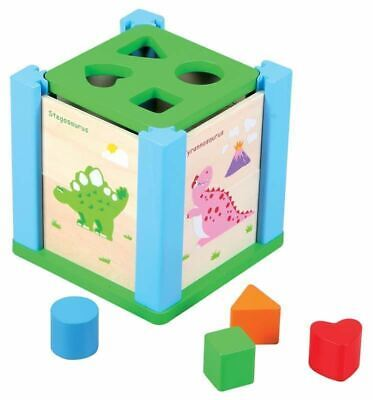 Lelin Children Kids Wooden Dino Puzzle Shape Sorter Sorting Toy Shaping Cube