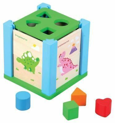 Lelin Children Kids Wooden Dino Puzzle Shape Sorter Toy Hand Eye Matching skills
