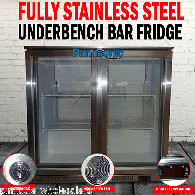 NEW Fully Stainless Steel 2 Door Under Bench Bar Beer Fridge Refrigerator