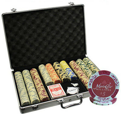 650Pc 14G Monte Carlo Millions Clay Poker Chips Set With Aluminum Case