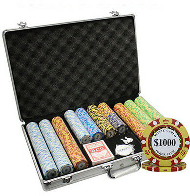 650Pc 14G Monte Carlo Poker Club Clay Poker Chips Set With Aluminum Case