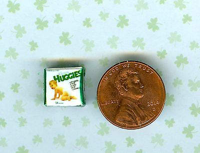 SMALLER 1/2 Half Inch Scale   Dollhouse Miniature  Baby Diapers box
