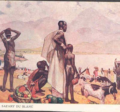 """African Native,black Tribe Assists """"white"""" Safari,cattle,french,vintage Postcard"""