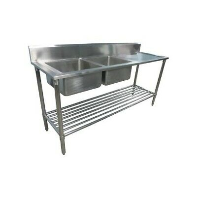 600x1900mm NEW COMMERCIAL DOUBLE BOWL KITCHEN SINK #304 STAINLESS STEEL BENCH E0