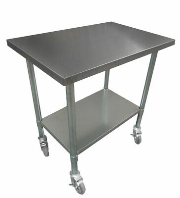 610x610mm STAINLESS STEEL #304 PORTABLE SQUARE WORK CORNER BENCH TABLE W/ WHEELS