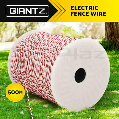 Giantz 500M Roll Electric Fence Wire Tape Poly Stainless Steel Temporary Fencing