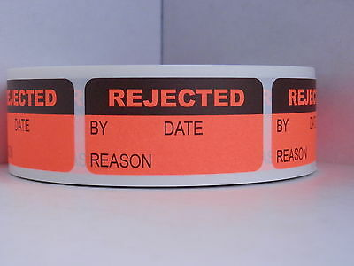 REJECTED Quality Control/Assurance Inventory 1x2 Sticker Label red fluor 500/rl