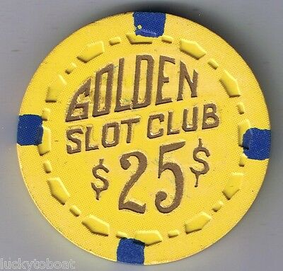 Golden Slot Club Small Crown $25.00 Casino Chip Las Vegas Nevada 1955