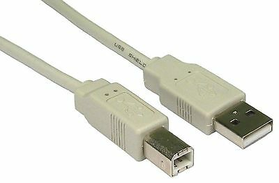 5m Metre USB Type A to B Printer Cable 28AWG Male Lead BEIGE / Off White