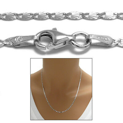 925 Sterling Silver Gorgeous Rhodium Valentino Chain Necklace 2mm (030 gauge)