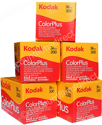 5 x KODAK COLOR PLUS 200 35mm 36exp CHEAP CAMERA FILM by 1st CLASS POST