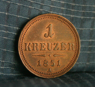 Austria 1 Kreuzer 1851 A Copper World Coin KM2185 Imperial Double Eagle Crown