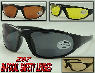 Sr204Bf Z87 Safety Bi Focal Reader Sunglasses Choice Strength & Color Wrap Style
