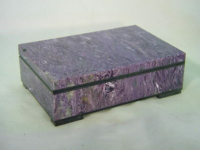 BUTW Chatoyant AAA Russian Charoite jewelry box lapidary stone carving 1256B tle